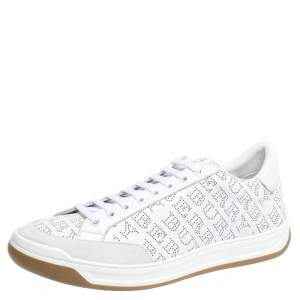 Burberry White Perforated Leather Timsbury Sneakers Size 45.5