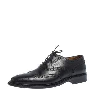 Burberry Black Brogue Leather Rayford Wingtip Derby Size 40