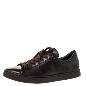 Burberry Dark Brown Leather and London Check Canvas Ritson Low Top Sneakers Size 41