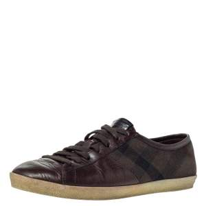 Burberry Brown Leather And House Check Canvas Lace Up Low Top Sneakers Size 40