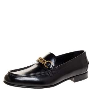 Burberry Black Leather Solway Chain Detail Slip On Loafers Size 43.5