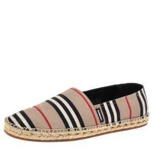Burberry Beige Icon Stripe Canvas Espadrilles Flats Size 43