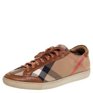 Burberry Beige/Brown Check Canvas And Leather Lace Up Sneakers Size 39