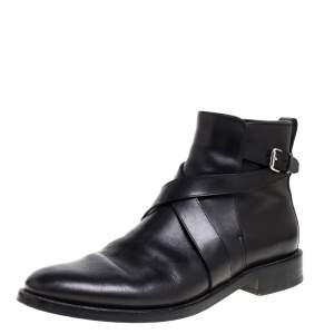 Burberry Black Leather Buckle Boots Size 42.5