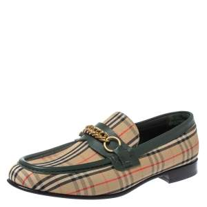 Burberry Multicolor Nova Check Canvas And Leather Moorley Slip On Loafers Size 44