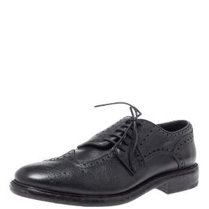 Burberry Black Leather Rayford Asymmetric Brogues Size 43