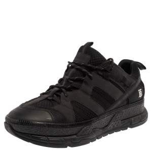 Burberry Black Mesh And Nubuck Leather RS5 Low Top Sneakers Size 45