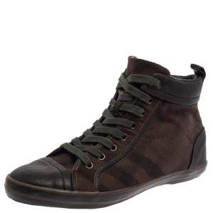 Burberry Brown Check Canvas And Leather Cap Toe High Top Sneakers Size 43
