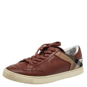 Burberry Brown Leather And Canvas Rettford Low Top Sneakers Size 44