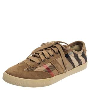 Burberry Beige Suede And Canvas Low Top Sneakers Size 41