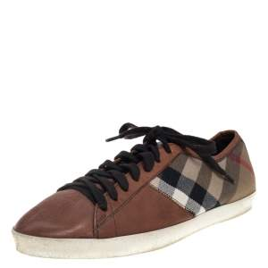 Burberry Brown/Beige House Check Canvas and Leather Sneakers Size 41