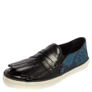 Burberry Black/Blue Leather And Canvas Fringe Penny Slip On Sneakers Size 39