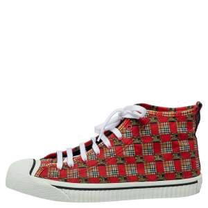 Burberry Red Tiled Archive Print Fabric High-Top Sneakers Size 44