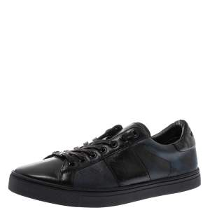 Burberry Black Leather and London Check Canvas Ritson Low Top Sneakers Size 43