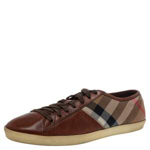 Burberry Brown Leather And Nova Check Canvas Low Top Sneakers Size 43