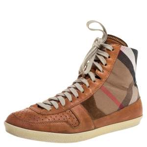 Burberry Brown leather And Canvas  High-Top Sneaker Size 40
