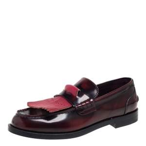 Burberry Burgundy Leather Slip On Bedmoore Loafers Size 45