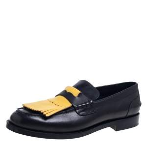 Burberry Black Leather Bedmoore Slip On Loafer Size 45