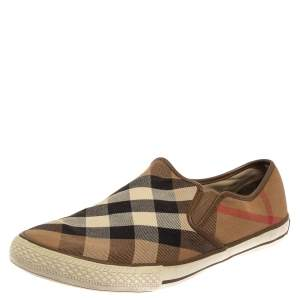 Burberry Beige House Check Canvas Slip On Sneakers Size 43