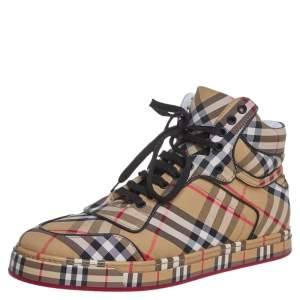 Burberry Multicolor Vintage Check Fabric High Top Sneakers Size 44