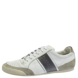 Burberry White/Grey Leather and Suede Lace Up Sneakers Size 42