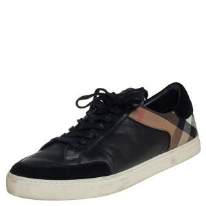 Burberry Black Leather And House Check Canvas Low Top Sneakers Size 46