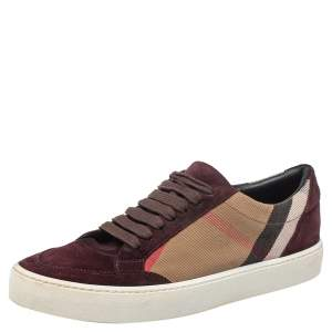 Burberry Brown/Beige Canvas And Suede Sneakers Size 39