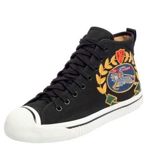 Burberry Black Canvas Kingly Big C High Top Sneakers Size 40