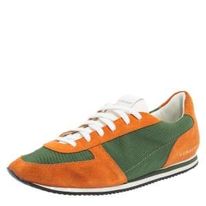 Burberry Orange/Green Suede And Mesh Lace Up Sneaker Size 44