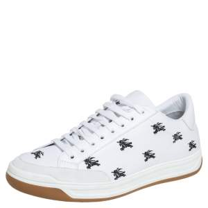 Burberry White Leather And Suede Timsbury Low Top Sneakers Size 46
