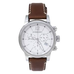Burberry Silver White Stainless Steel Leather BU7817 Men's Wristwatch 42 mm