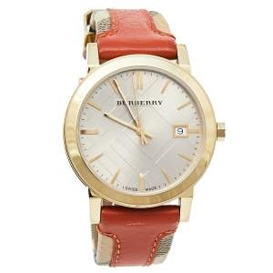 Burberry Beige Gold Plated Stainless Steel Leather BU9016 Men's Wristwatch 38 mm