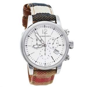 ساعة يد رجالية بربري ذا يوتيميتريان كاروهات هاوس بي يو7820 ستانلس ستيل بيضاء 42 مم