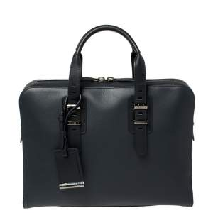 Bvlgari Deep Midnight Blue Leather Zip Briefcase