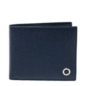 Bvlgari Navy Blue Grained Leather Bifold Wallet