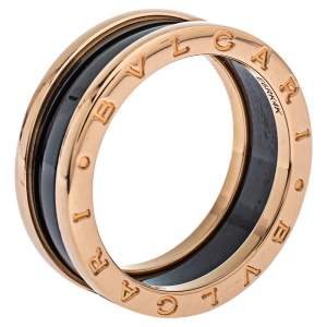 Bvlgari B.zero1 Ceramic 18K Rose Gold Two Band Ring Size 62