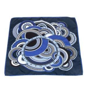 Bvlgari Navy Blue Printed Silk Pocket Square
