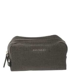 Bvlgari Dark Grey/Black Coated Canvas Herringbone Toiletry Pouch