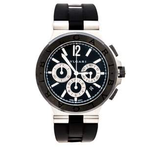 Bvlgari Black Ceramic Stainless Steel Rubber Diagono DG42SCCH Men's Wristwatch 42 mm