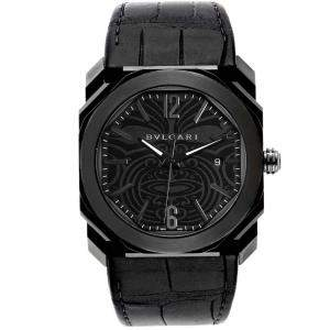 Bvlgari Black Stainless Steel and Rubber Octo Solotempo Maori Tattoo BGO41S Men's Wristwatch 41MM