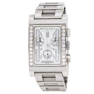 Bvlgari White Stainless Steel Diamond Rettangolo RTC49S Men's Wristwatch 49 mm