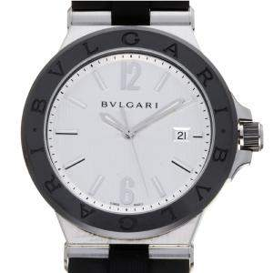 Bvlgari Silver Ceramic And Stainless Steel Diagono DG42SC Men's Wristwatch 42 MM