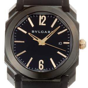 Bvlgari Black Stainless Steel Octo Ultra Nero BG041S Men's Wristwatch 41 MM