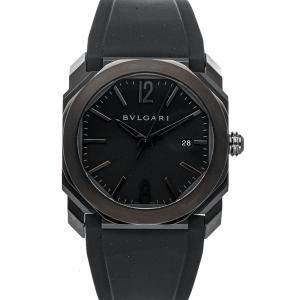 Bvlgari Black DLC Stainless Steel Octo Ultranero 102737 Men's Wristwatch 41 MM