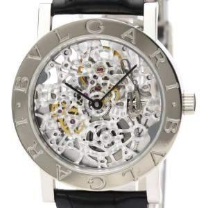 Bvlgari Silver 18K White Gold Bvlgari-Bvlgari BBW33GLSKP Men's Wristwatch 33 MM