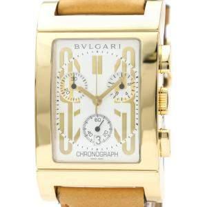 Bvlgari White 18K Yellow Gold Rettangolo Chronograph Quartz RT45S Men's Wristwatch 49 MM