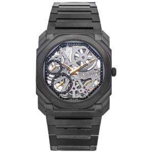 Bvlgari Silver DLC Coated Titanium Octo Finissimo 103010 Men's Wristwatch 40 MM