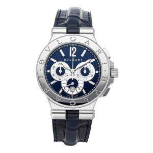 Bvlgari Blue Stainless Steel Diagono Chronograph DG42SCH Men's Wristwatch 42 MM