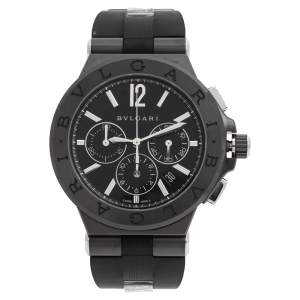 Bvlgari Black Ceramic Stainless Steel Rubber Diagono DG 42 BSC CH Men's Wristwatch 42 mm