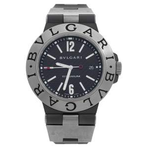 Bvlgari Black Carbon Fiber Titanium Rubber Diagono TI 44 TA Men's Wristwatch 44 mm
